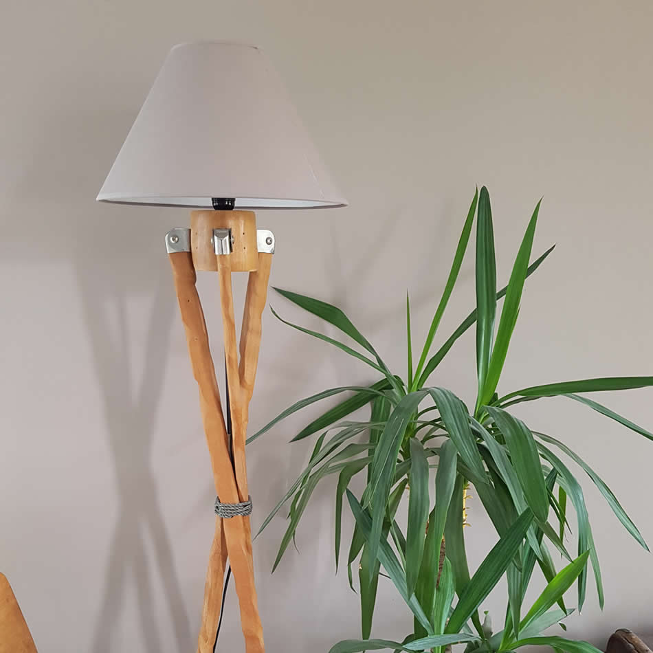 Upcycled freestanding wooden parasol to a standing lamp