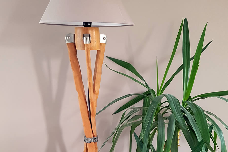 Up-cycling an old freestanding sun parasol into a standing lamp